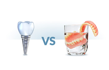 Dental implant and glass with a dental prosthesis